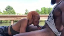 Cute ebony Sucking huge black Dick in the park
